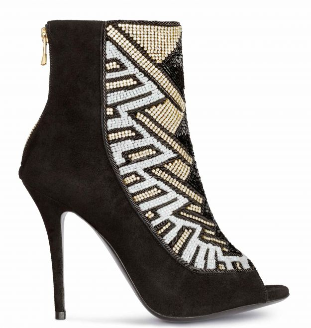 Ankle boots open toe con perline