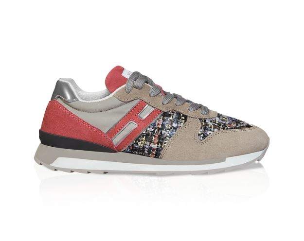 Sneakers panna e salmone in tweed