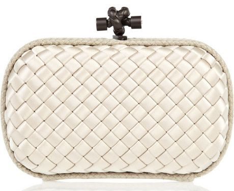 Bottega Veneta Intrecciato Satin Knot Clutch white
