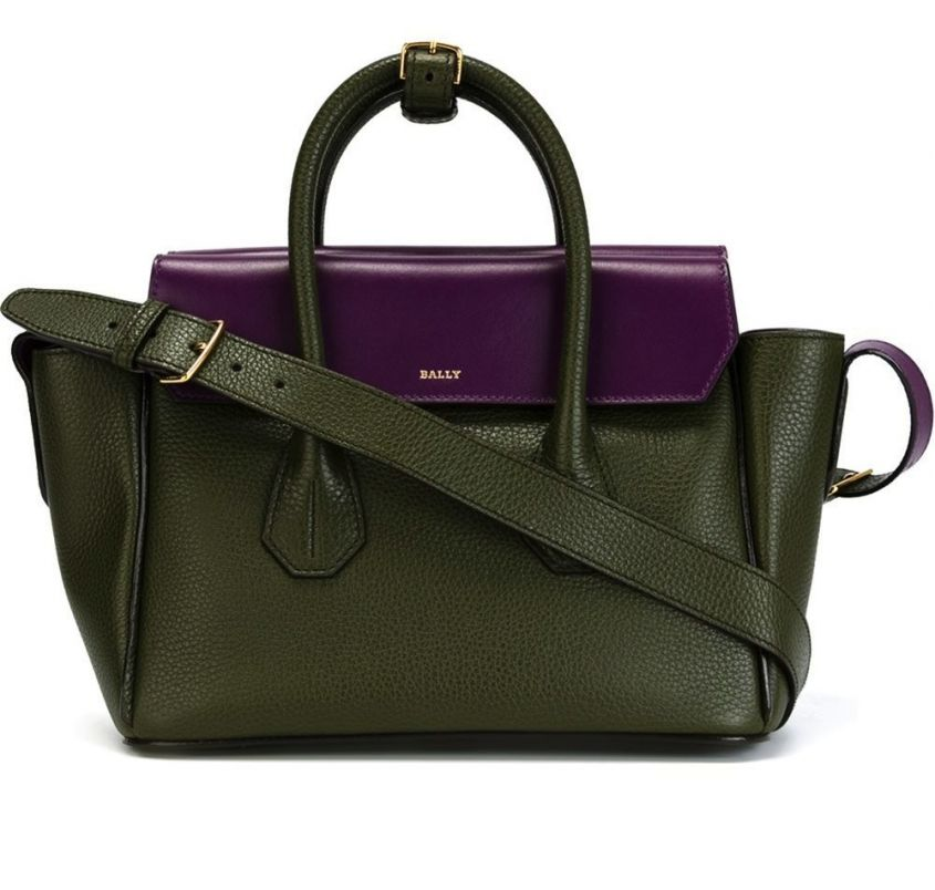 Tote bag color block in verde e viola