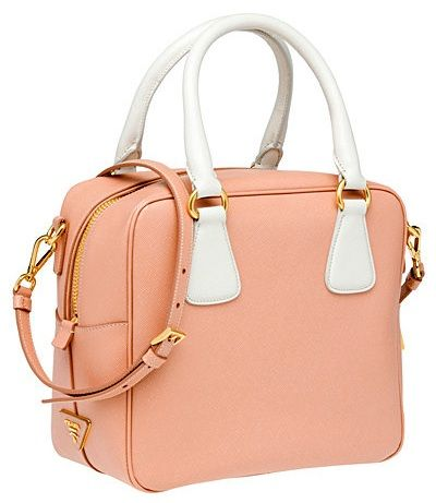 prada saffiano calf leather top handle bag cipria bianca