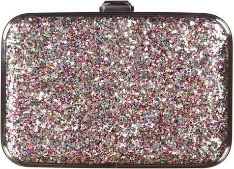 topshop multi glitter box bag