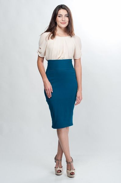4498 teal turquoise blue high waisted jersey skirt 1 (397x600)