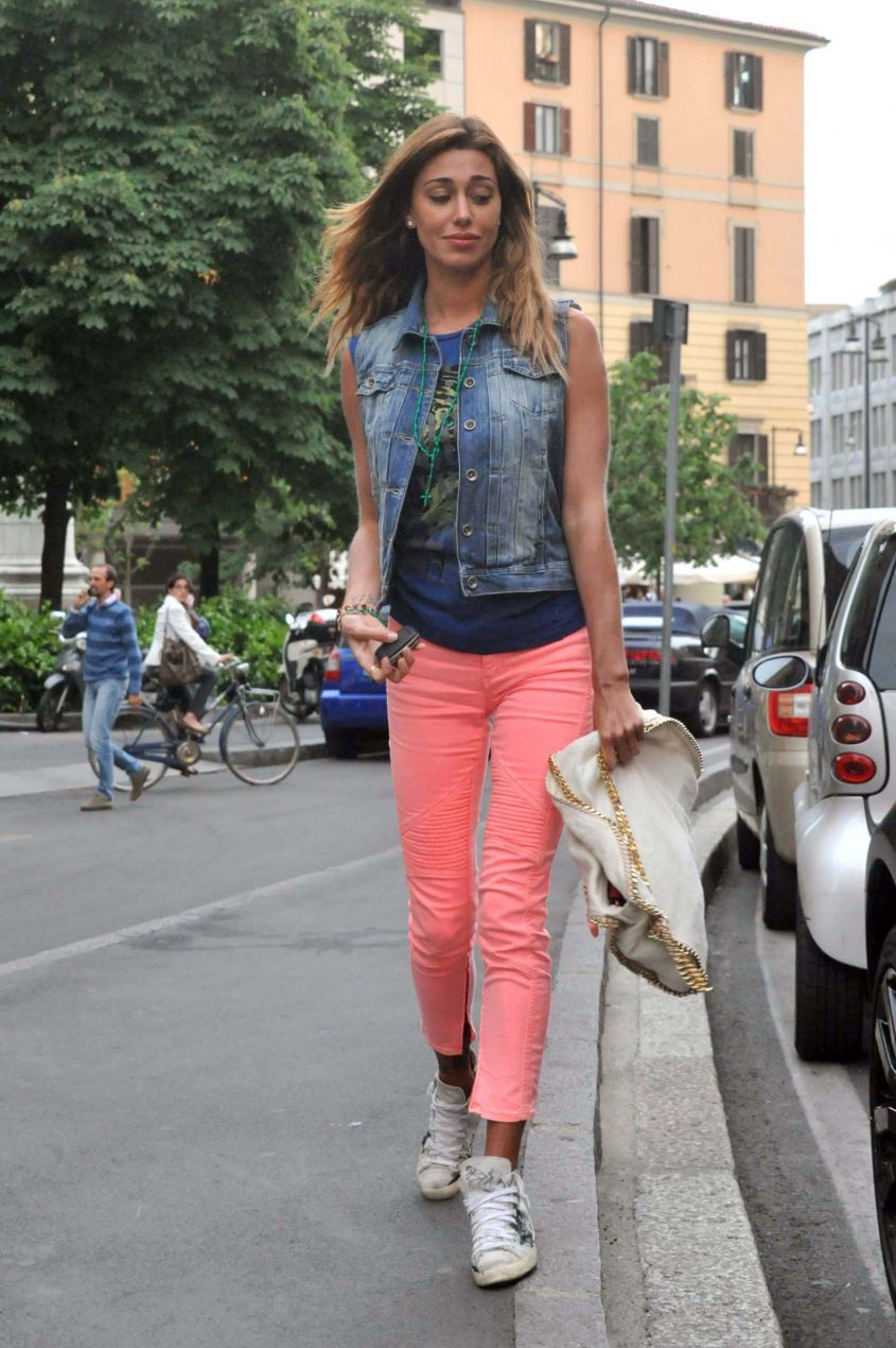 Belen Rodriguez and her sister Cecolia out and about in Milan, Italy