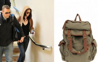 Kristen Stewart con lo zaino Ecote Canvas & Leather Backpack