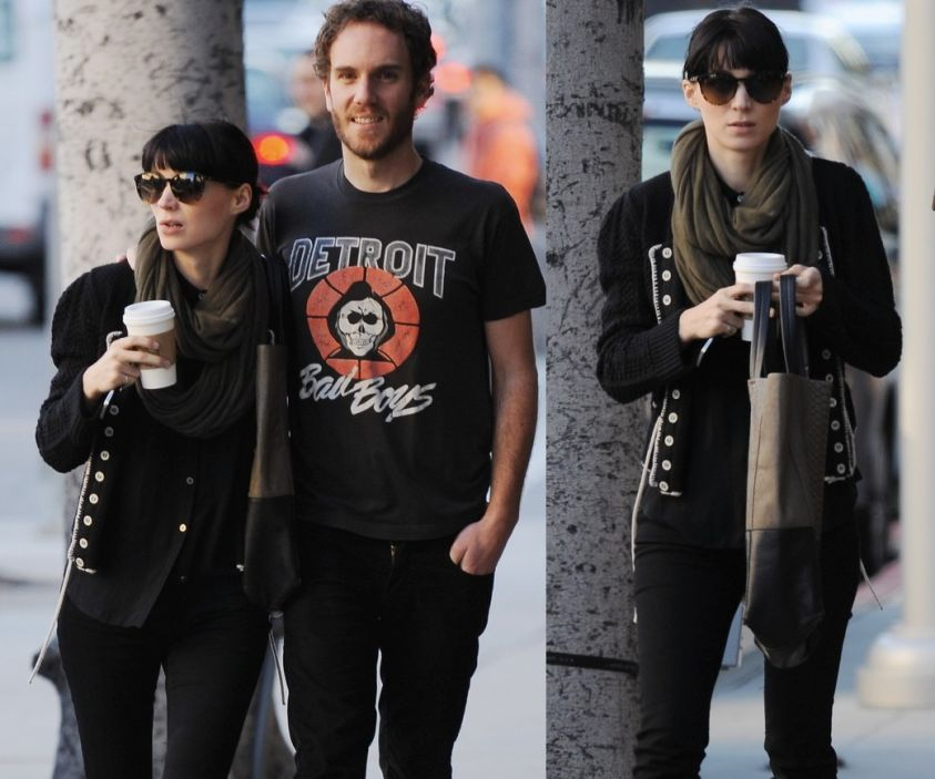 The Girl With The Dragon Tattoo star Rooney Mara walks arm in arm with boyfriend Charlie McDowell and a couple of her friends in Beverly Hills, Ca