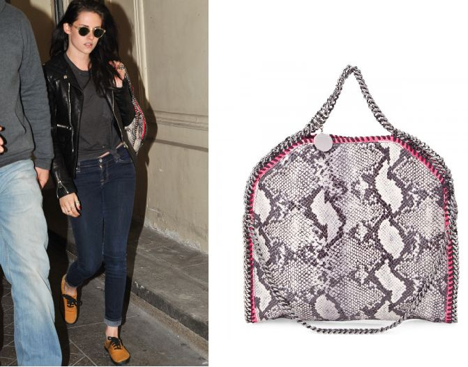 kristen stewart and stella mccartney falabella faux python tote with fluorescent
