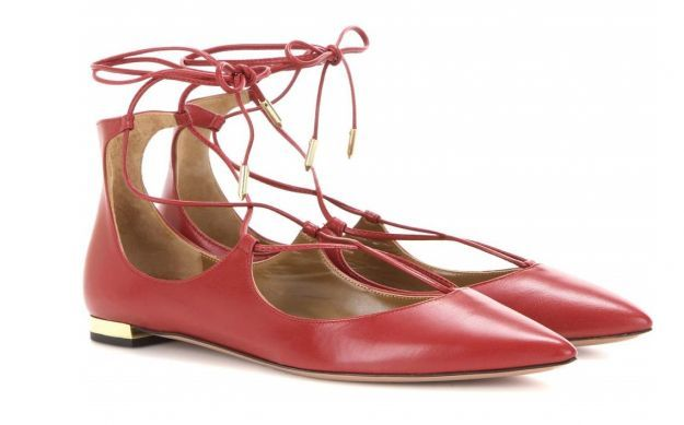 Ballerine lace up rosse Aquazzura