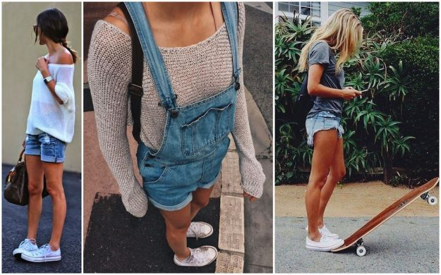 Sneakers e slip on con gli shorts