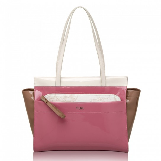 Shopping bag Tricolor gloss in vernice rosa