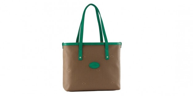 The Bridge shopper beige con profili in vernice