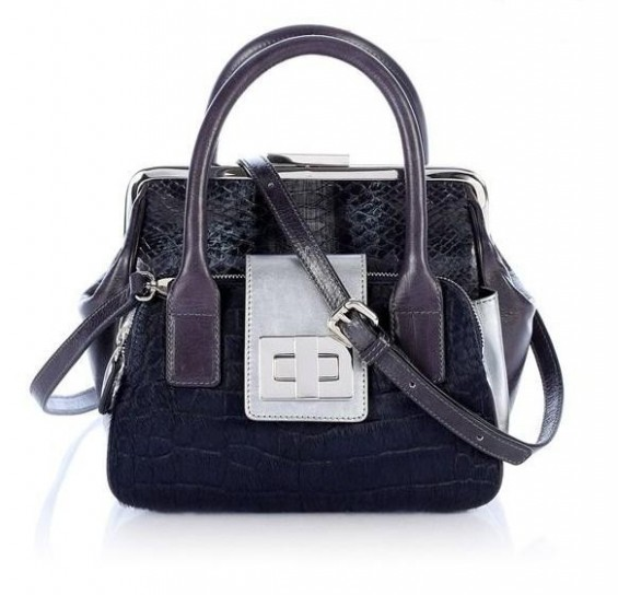 Handbag blu con stampa rettile