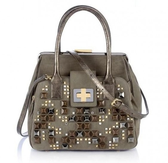 Handbag grigia con borchie