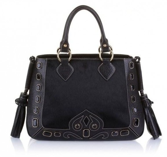 Handbag nera con frange