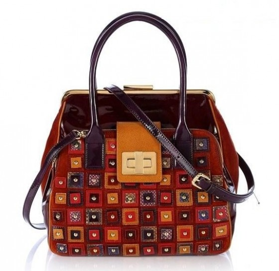 Handbag patchwork in pelle