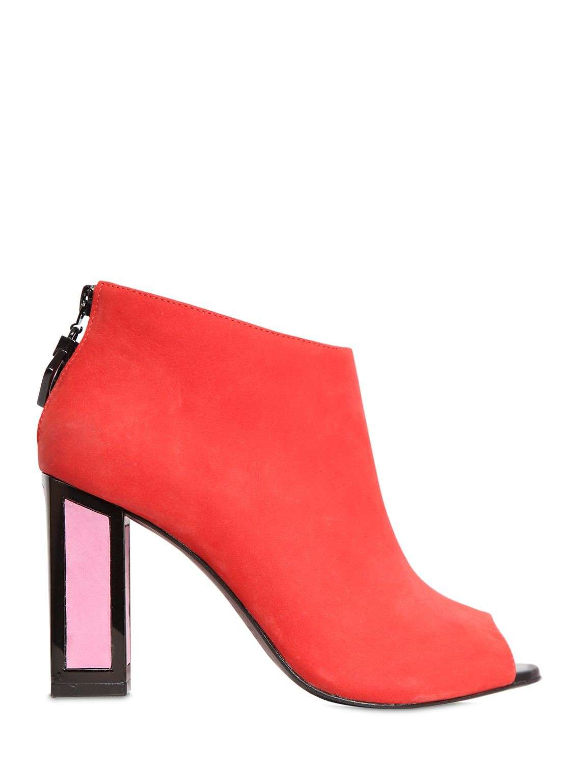 Ankle boots open toe in suede corallo con tacco rosa Kat Maconie