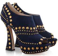 Suede Studded Ankle Boot Miu Miu