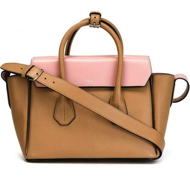 Handbag color block rosa e cammello Bally
