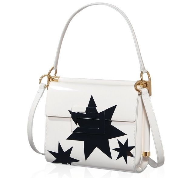 Shoulder bag bianca con stelle nere