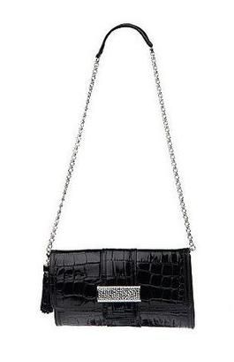 kelly rutherford croco embossed leather bag w removable cha