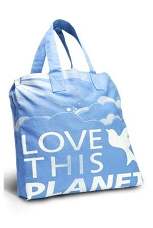 love this planet blue solid bag