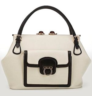 salvatore ferragamo leather bag with leather trim and gold gancio detail