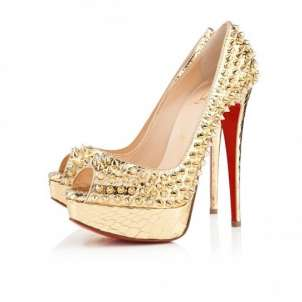 Lady Peep Spikes Christian Louboutin dorate