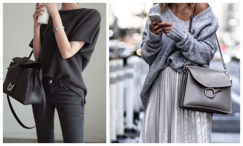 Borsa grigia con look total grey