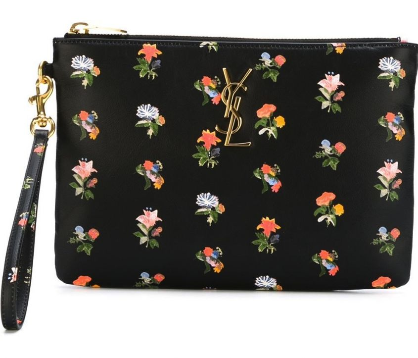 Clutch a fiori Saint Laurent