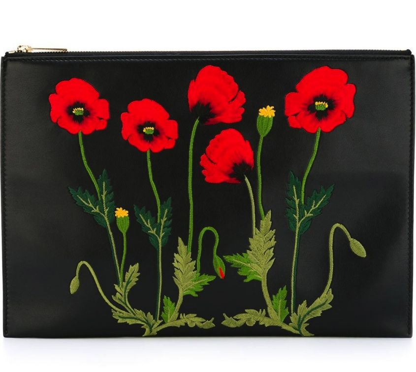 Clutch con papaveri Stella McCartney