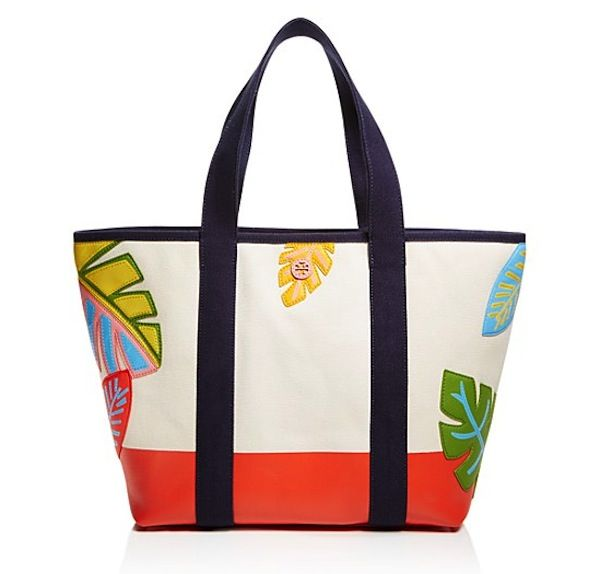 Shopper in canvas con foglie Tory Burch
