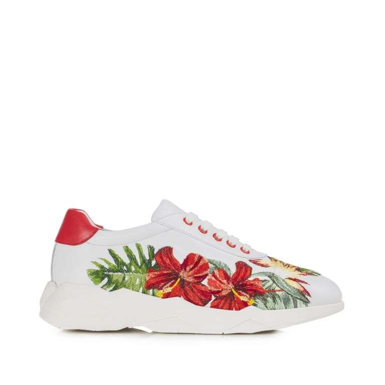 Sneakers in vitello a fiori Loriblu