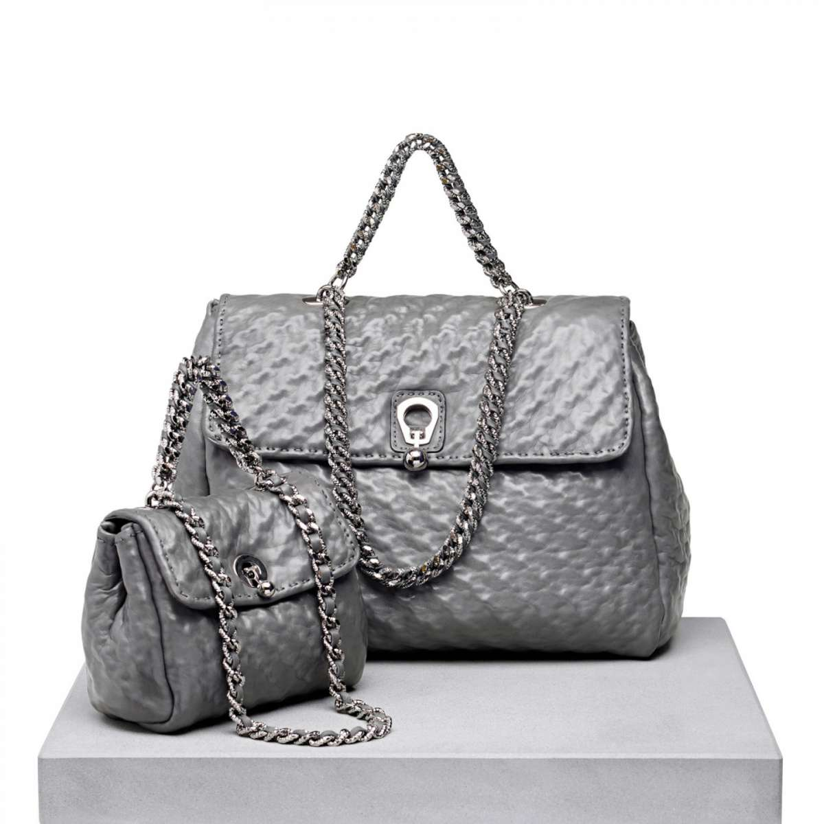 Handbag in pelle grigia