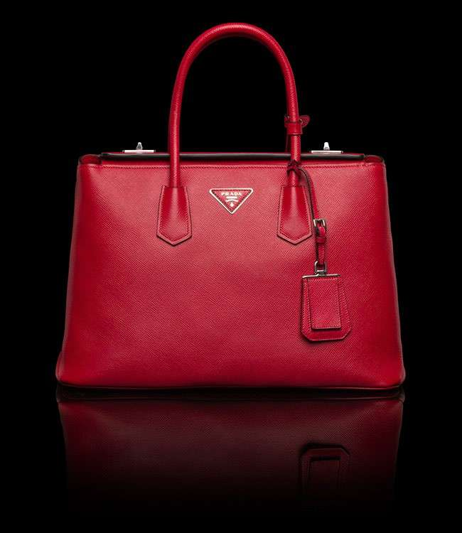 Shopper Twin Bag Prada rossa