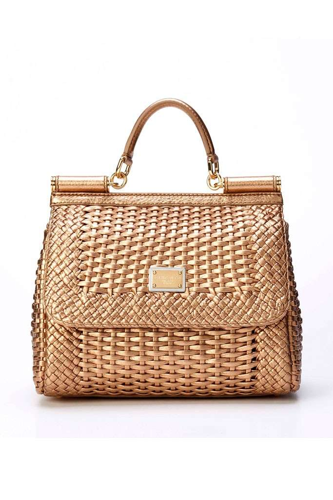 Handbag ricamata color oro