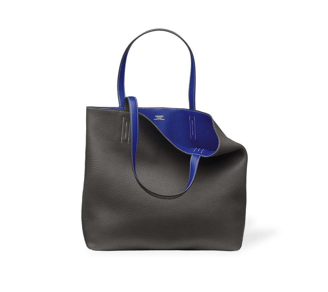 Shopping bag reversibile in nero e blu