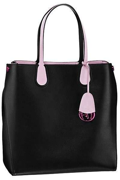 Shopping bag nera con manici rosa