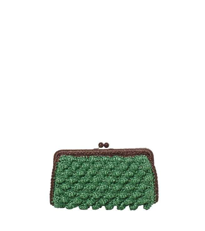Clutch in rafia marrone