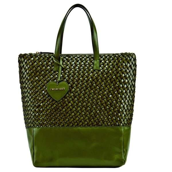 Shopper in rafia verde Twin Set Simona Barbieri