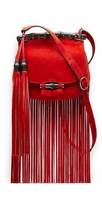 Shoulder bag rossa con frange Rachel Zoe