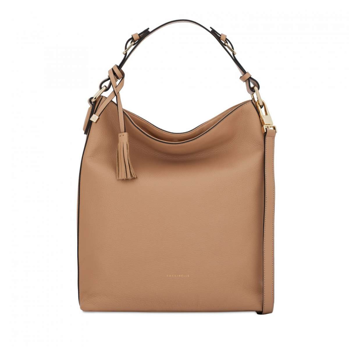 Borsa a sacca in pelle beige Coccinelle