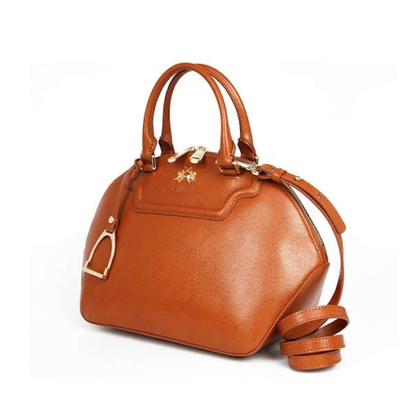 Handbag in pelle color cuoio
