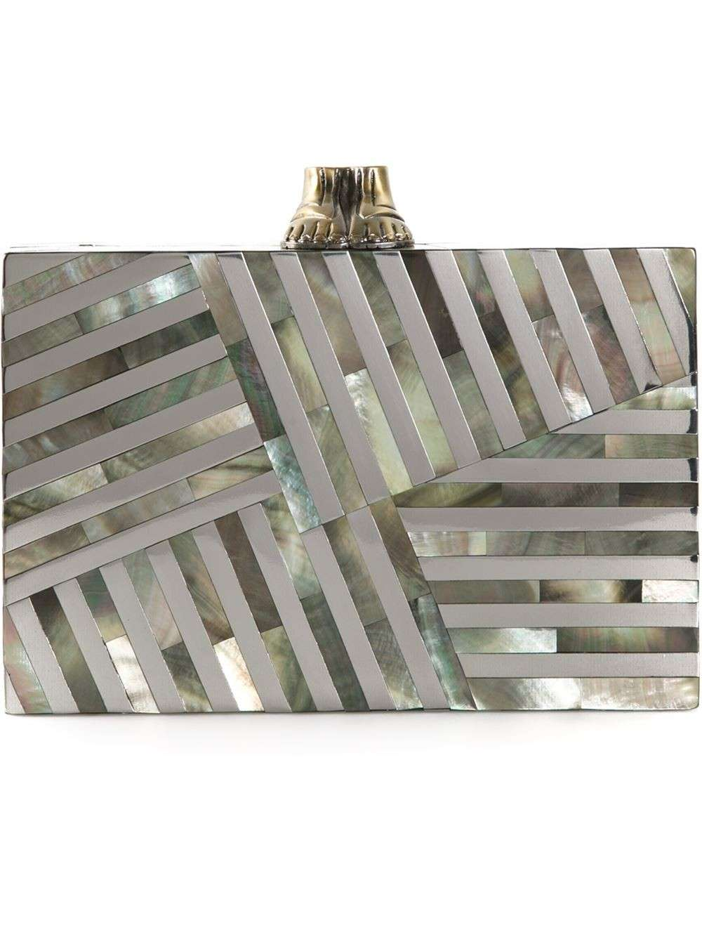 Clutch madreperla motivo geometrico Kelly Wearstler