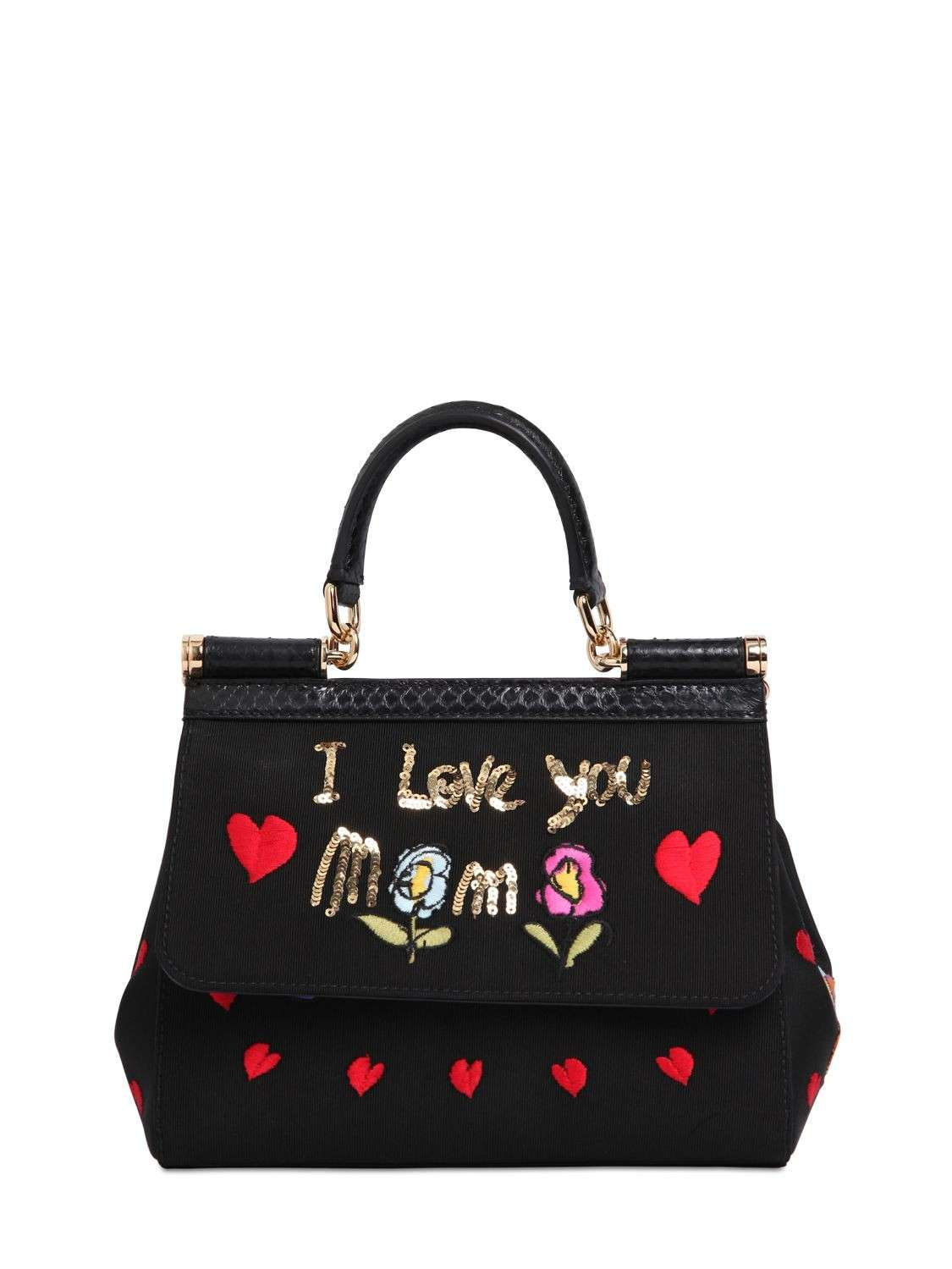 Handbag in grosgrain ricamato nero I Love You Mom