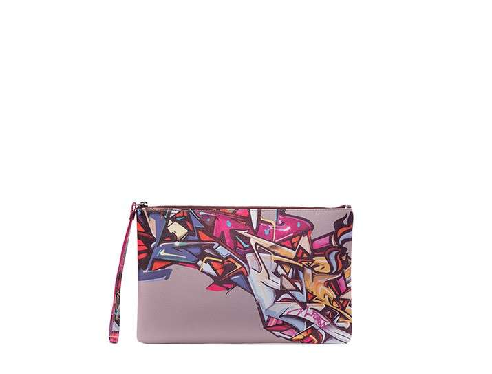 Pochette stampa graffiti in rosa