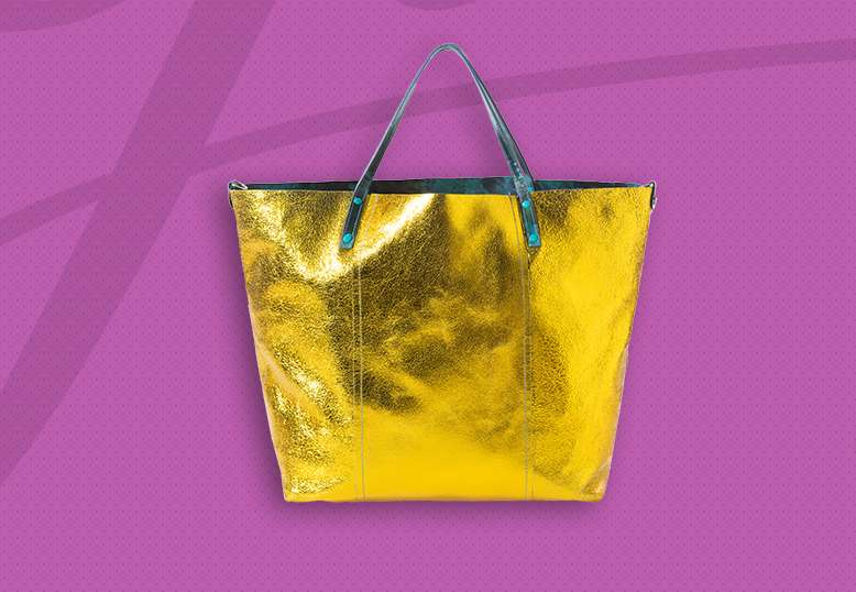 Shopping bag giallo metallizzato