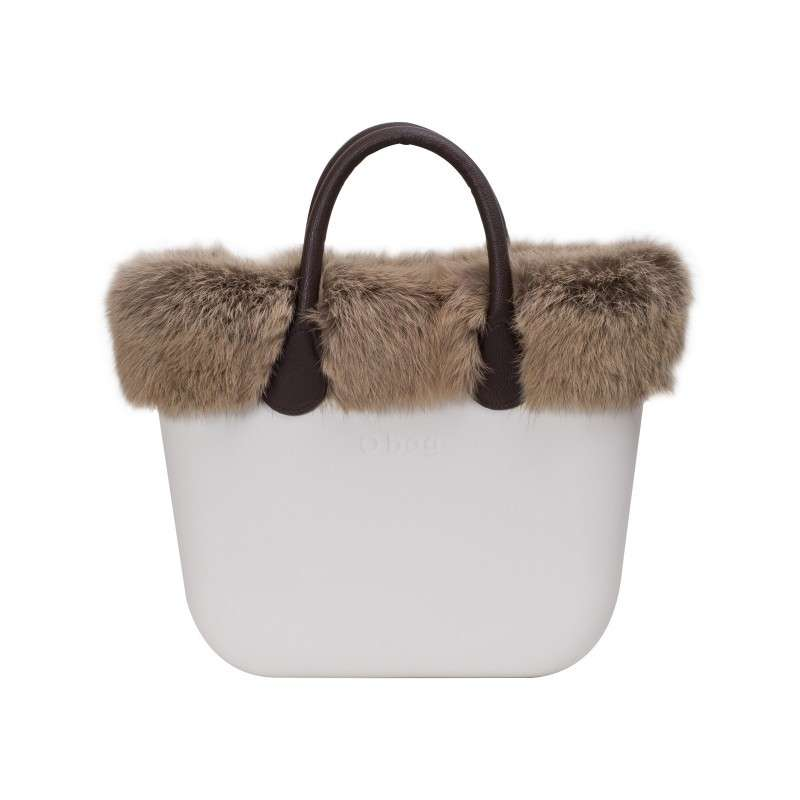 Handbag bicolor in lapin
