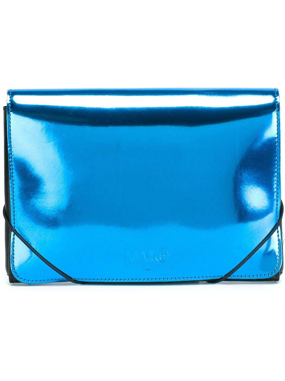 Clutch metallizzata turchese Mm6 Maison Margiela