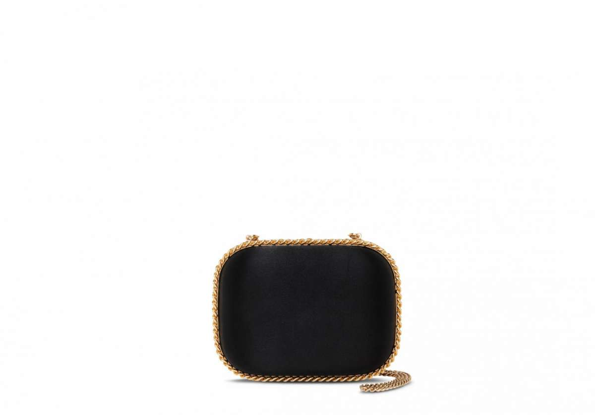 Clutch Falabella nera in raso