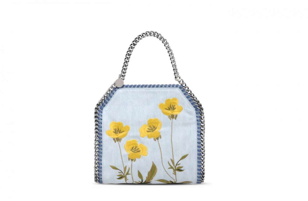 Mini Falabella in denim con fiori Stella McCartney